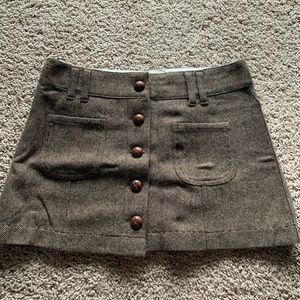 Brown button up mini skirt